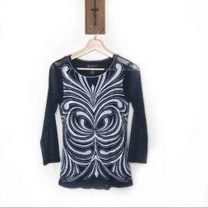 INC International Concepts mesh embroidered blouse